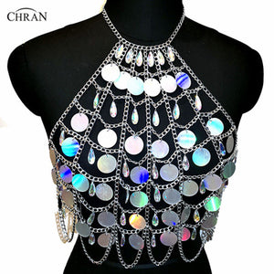 Chran Holographic Discs Sequins Crop Top Belly Waist Belt Mirror Chain Necklace Rave Bra Bralete Festival Wear Jewelry CRS413