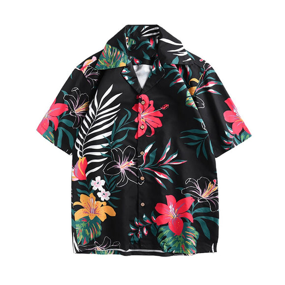 2019 New Summer Mens Short Sleeve Beach Hawaiian Shirts Cotton Casual Floral Shirts Regular Plus Size Mens clothing Fashion