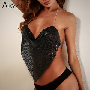AKYZO Women Solid Sequined Metal Camis Top 2018 Sexy Halter Backless V Strappy Party Nightclub Vest Cropped Tops