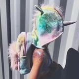 Sugar baby softy girl's tie-dyed colorful unicorn hooded backpack removable hat cool street style funny coat velour school bag