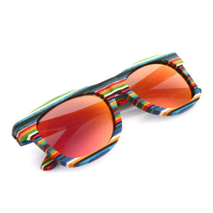 Fashion Colorful Rainbow Wooden Polarized Sunglasses Frame UV400 Sunwear Polarize Sunwear for Men and Women Mirror Coating Lens
