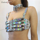Holographic Vinyl Buckle Crop Top/Belt (3 Colors)