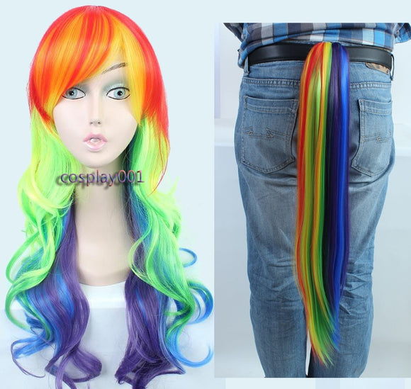 My Little Pony Rainbow Dash Cosplay Wig 65cm Long Curly Wavy Heat Resistant Synthetic Hair Wigs + Wig Cap
