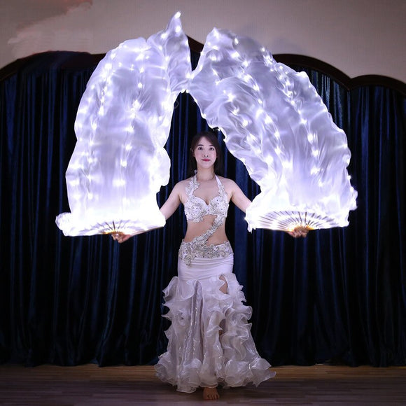 White LED Bellydance Accessories Belly Dance Silk Fan Veil Rainbow Dance Props LED Fan Veil For Oriental Dance Costumes