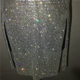 Sexy Metal Chain Crystal Rhinestones Diamonds Strap Dresses Backless Split Dress Luxury Festival Nightclub Party Women Vestido
