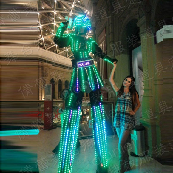 The new stage luminescent clothes props LED seven color stilts skirt suit Nitrogirl Night Clubs