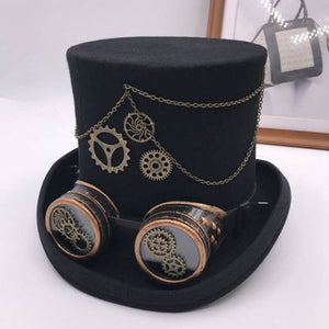 Takerlama Vintage Steampunk Gear Glasses Floral Black Top Hat Punk Style Fedora Headwear Gothic Lolita Cosplay Hat 17 cm