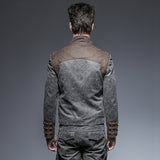 Steam Punk Vintage Spliced Style Short Jacket for Man Autumn Winter Warm Zipper Stand Collar Coats