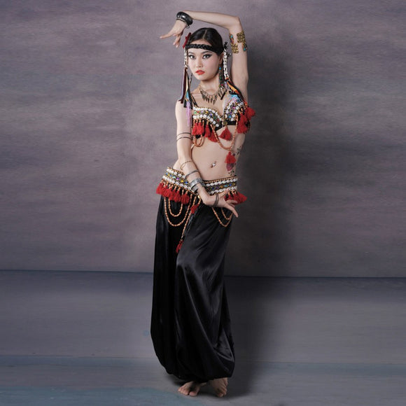 Red Tribal Fusion Belly Dance Costumes Set 3-piece Bra, Belt and Haren Pants Gypsy Costume Belly Dance Pants Costumes