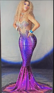 Women Mermaid Cosplay Costume 3D Printing Crystals Pearls Fishtail Dress Bar Party Female Dancer Team Role Performance Dresses