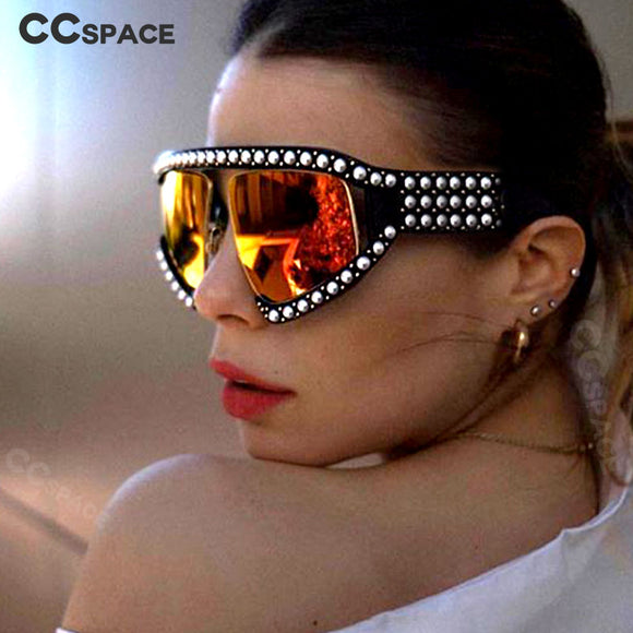 2018 Goggles Sunglasses Women Luxury Shades Pearl Glasses Frame Red Mirror Glasses Oversized UV400 Brand Glasses Female