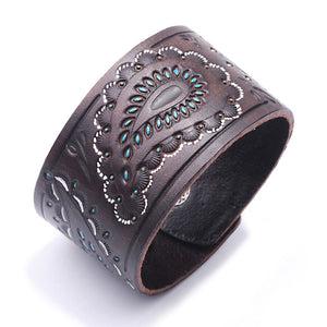 Kirykle New Brown Black  vintage genuine leather bangles Wide leather bracelet for women  bracelet cell shape punk charm jewelry