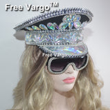 Burning Man Holographic Crystal Headdress Rave Festival Party Headpiece Captain Military Hat Sparkly EDM Stage Dj Dance Costume