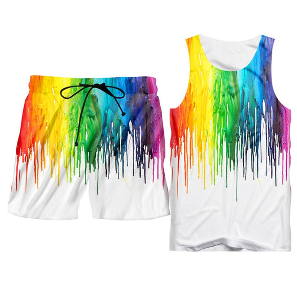 Fashion 3d Tank Tops Shorts Men's Sets Summer Pop 3D rainbow Print Hoodie Vest Shorts Sets Oversize Hipster Sleeveless Tee Suits