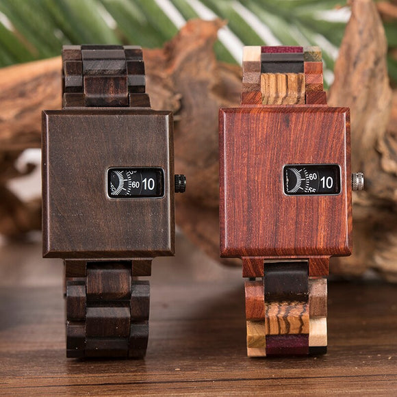 BOBO BIRD New Design Watch Men Ebony Wooden Delicate Square Timepiece Relogio Masculino Birthday Gift to him Drop Shipping J-R23