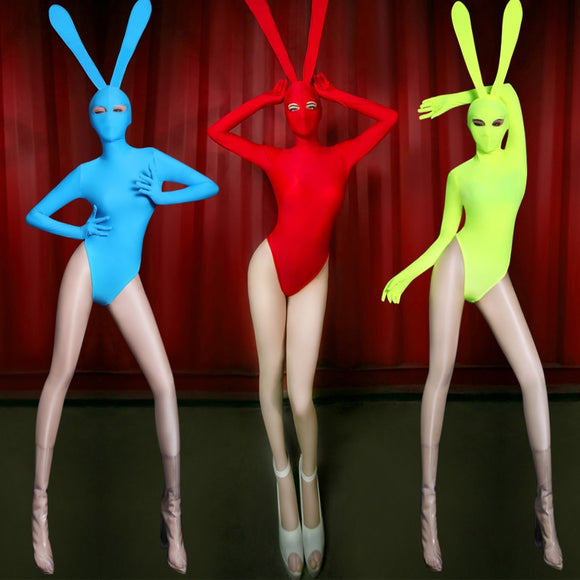Spandex Bunny Ear Mask and Bodysuit