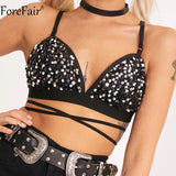ForeFair Shiny Sequined Bikini Sexy Backless Club Party Crop Top Plus Size Adjustable Bandage Tops
