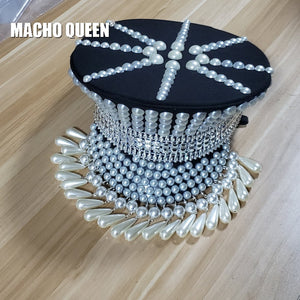 Burning Man Festival Holographic Pearl Fringe Hat Military Captain  Rave Bespoke Hat Costumes Gypsy Headpiece Headwear