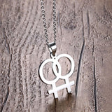 Women Couple Female Symbol Pendant Necklace Stainless Steel Bead Chain LGBT Lovers' Gay Necklace Choker Statement Jewelry Gift