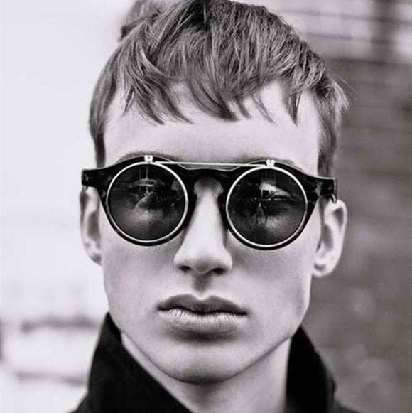 JackJad 2018 Fashion Vintage Round Retro SteamPunk Sunglasses Classic Double Layer Clamshell Design Sun Glasses Oculos De Sol