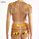 Bejeweled Crystal Mirror Fringe Body Chain Crop Top and Skirt Set