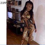 Sexy Gold Sequins Glisten Crystals Skinny Jumpsuit Bright Bar Evening Outfit Party Singer Costume One-Piece Design Stage Rompers