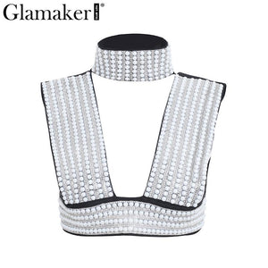 Glamaker Deep v neck sexy tank top Hot drilling pearl women crop top cami Backless club party tank top women tops camisole