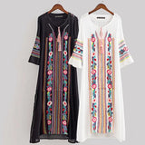 Women Vintage Floral Embroidery Ethnic Dresses Vestido Round Neck Long Sleeve Casual Long Maxi Dress Jurk Robe Longue