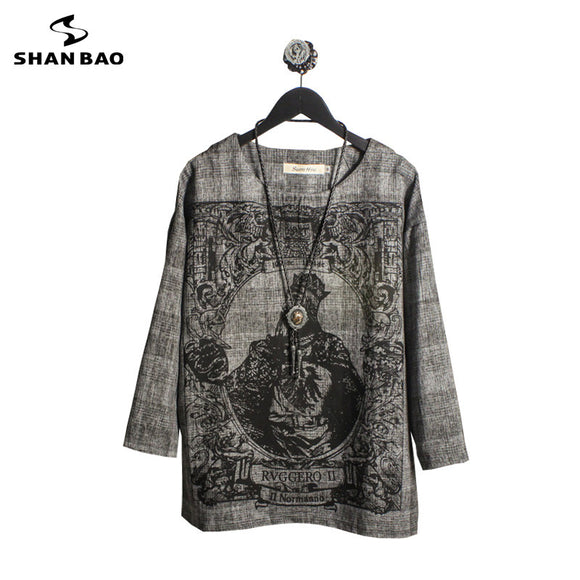 Men's Brand T-Shirt Dark Grey 2019 Autumn New Poker King Print Young Fashion Men's Loose Large Size Seven-Sleeve T-Shirt 582609
