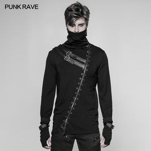 Punk Rave Rock Black Fashion Casual Gothic Steampunk Long Zipper Turtleneck Men's T-shirt WT527