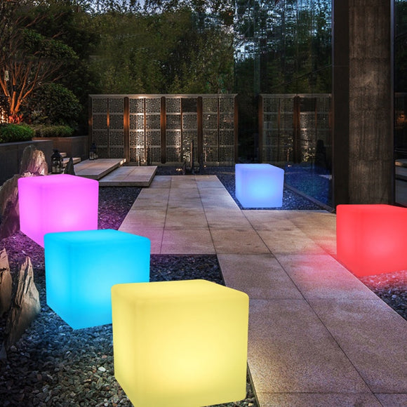 Thrisdar RGB Rechargeable Cube Led Night Light Lamps Outdoor illuminated Furniture Cube Chair bar KTV Pub Plastic Tables Light