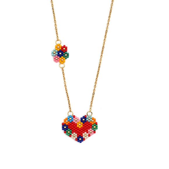 JOYE Fashion necklaces 2019 jewlery stainless steel chain gold necklace statement red heart necklace rainbow sunflower necklace