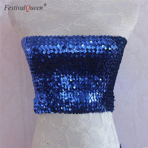 Mermaid Sequin Strapless Bandeau Stretch Top (10 colors)