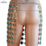 Chran Rhinestone Chain Skirt Exotic Lingerie Disco Partry Mini Dress Beach Cover Up Chain Necklace Bra Bralette Jewelry CRD286