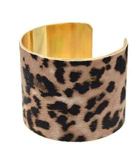 African Women Open Wide Cuff Bangle Bracelet Leopard Printed Earring & Bangles Sets Wristband Bohemian Gypsy India Jewelry