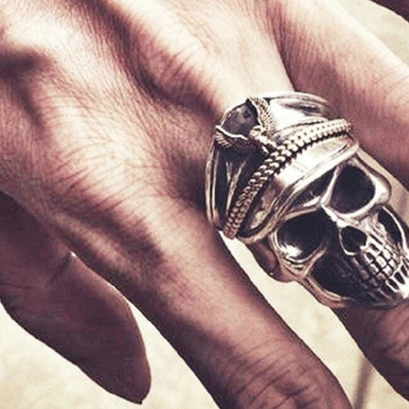 LNRRABC Fashion Punk Rock Men Rings World War Military cap Band Ring Skull Biker Finger Eagle Jewelry