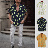 INCERUN Summer Men Shirt Avocado Print Short Sleeve Lapel Neck Casual Tops 2019 Beach Hawaiian Shirts Men Streetwear Camisa 5XL