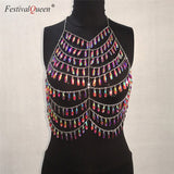 FestivalQueen Handcrafted Gem Sequins Crop Top Women Sexy Hollow Chain Backless Beach Party Camis Cropped Top
