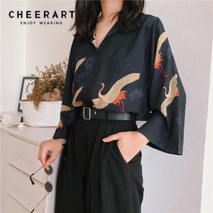 Cheerart Autumn 2018 Vintage Japanese Blouse Women V Neck Loose Top Femme Crane Print Black Fall Blouse Clothing