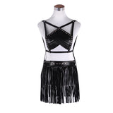 Leather Arrow Harness Top and Fringe Skirt