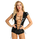Womens Wetlook Bodysuit Patent Leather Sexy Clubwear for Ladies Catsuit Costumes Cap Sleeve Deep Zipper Crotch Leotard Jumpsuit