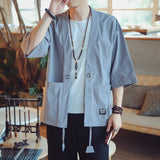 Blouses male hawaiian shirt men Japanese kimono cardigan harajuku Japanese streetwear clothing cool blouse male shirt KK2808