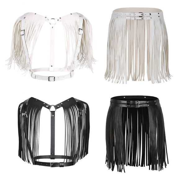 Leather Fringe Harness Cape Top (Black/White)