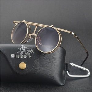 Steampunk Vintage Clamshell Flip Sunglasses