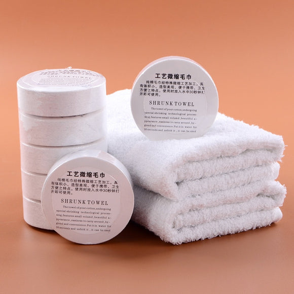 1PC Pure White Cotton Compressed Towel Convenient Outdoor Travel Disposable Magic Compress Towels