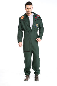 Halloween Man Airman Military Suit Pilot Jumpsuit Fantasia Costume Zipper Army Green Air Force Cosplay Uniform