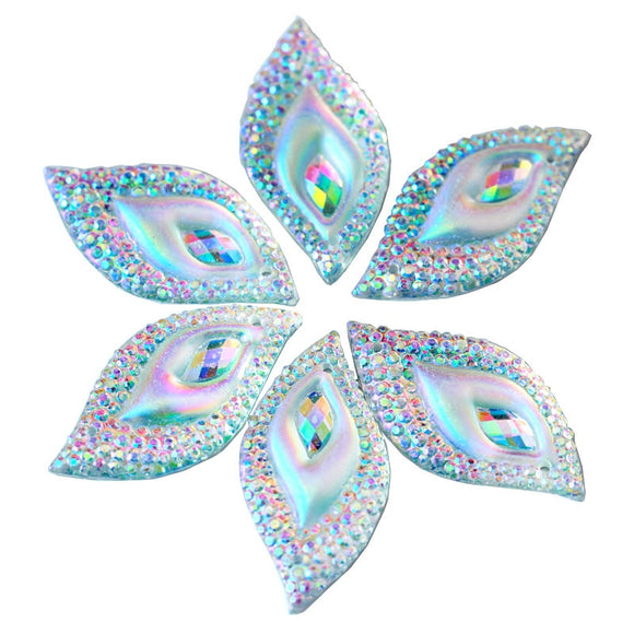 50Pcs/Pack 15x30mm Leaf Shape Resin Sew On Rhinestones Resin Sewing Rhinestones With 2 Hole Sew-on Stone For Wedding Dress B3107