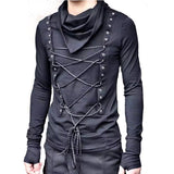 Men nightclub DJ singer hip hop punk rock black t shirt gothic long sleeve tops women harajuku slim fit streetwear swag clothes
