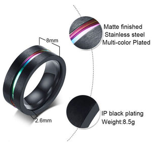 Black Titanium Steel Ring for Men Women Rainbow Colorful Wedding Bands Rings Jewelry