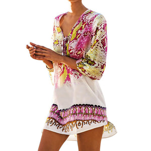 FangNymph Women Snake Print Bikini Cover Up Chiffon Swimsuit Beach Dress Girls Pullover Swimwear Pareo Robe Sexy Sarong
